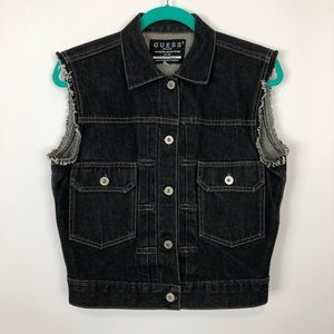 GUESS 90s black denim jean vest M